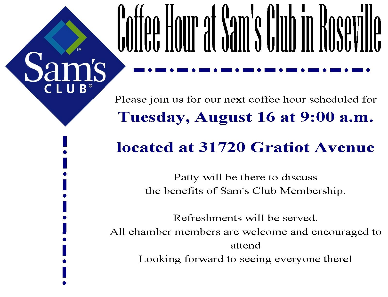 Roseville Sams Club Sams Club >> August Coffee Hour Sam S Club Eastpointe Roseville Chamber