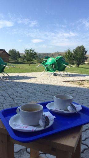 kávézás az udvaron