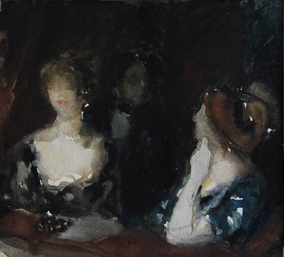 Páholyban (akvarell, papír; 15,5 x 17,5 cm, j.n. Maros Megyei Múzeum)
