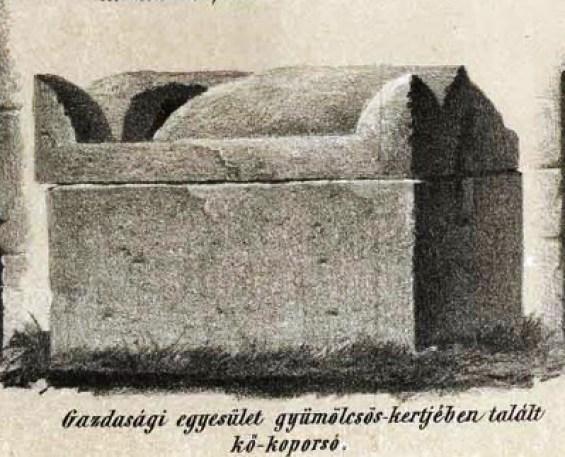 XIX. században felfedezett római szarkofág (Jakab Elek nyomán)