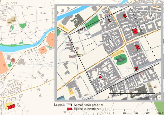 Napoca, a római Kolozsvár legújabb ásatásai. A fekete vonal a városfal feltételezett vonalát jelzi. Az 1-7. számmal jelölt, piros foltok az elmúlt két évtized legjelentősebb, római kori ásatásainak helyszíneit jelölik (forrás: Acta Musei Napocensis 49, nr. I., MNIT).