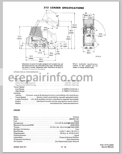 313 Skid Steer Workshop Repair Service Manual Part Number ...
