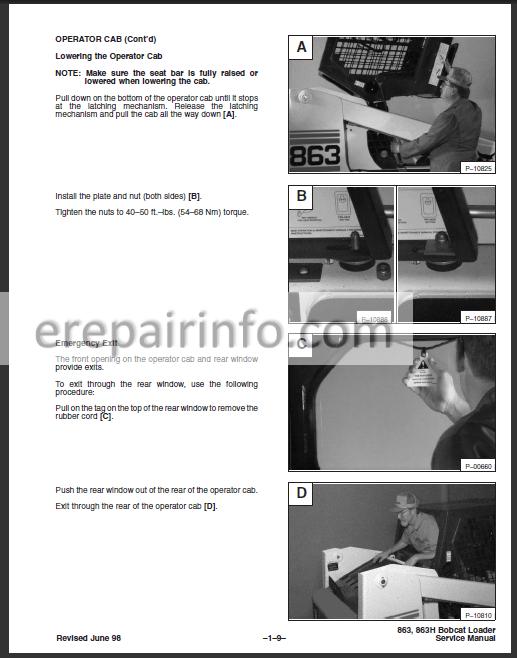 Bobcat 863 Service Repair Manual Skid Steer Loader 6724799 7-10