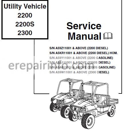 bobcat 2200 2200s 2300 service repair manual utility vehicle 6904893 12-09