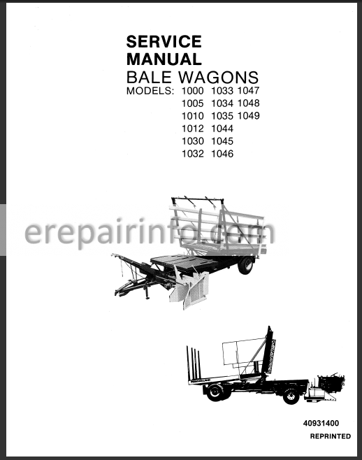 New Holland 1000-1049 Service Manual Bale Wagons