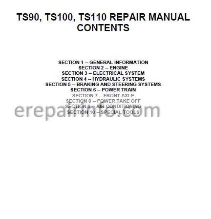 New Holland TS90 TS100 TS110 Repair Manual – eRepairInfo.com on