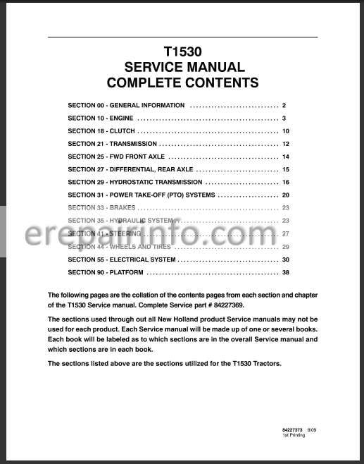 New Holland T1530 Service Manual on