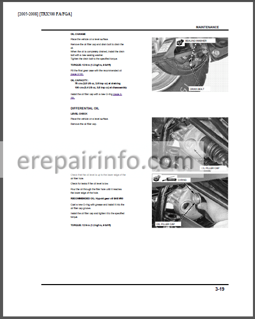 Honda Rubicon TRX500FA (FGA) Service Manual ATV