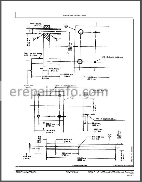 JD 318D 319D 320D 323D Technical Repair Manual TM11399