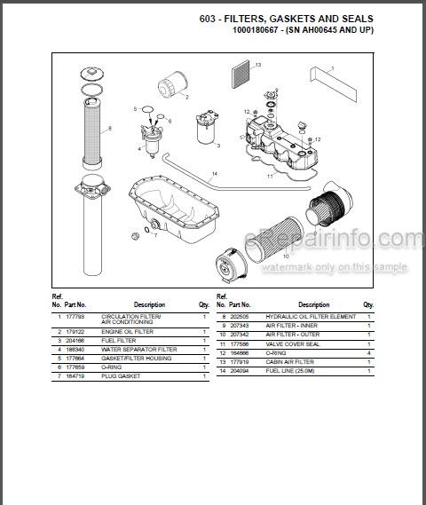 Gehl 603 Parts Manual Compact Excavator 918072
