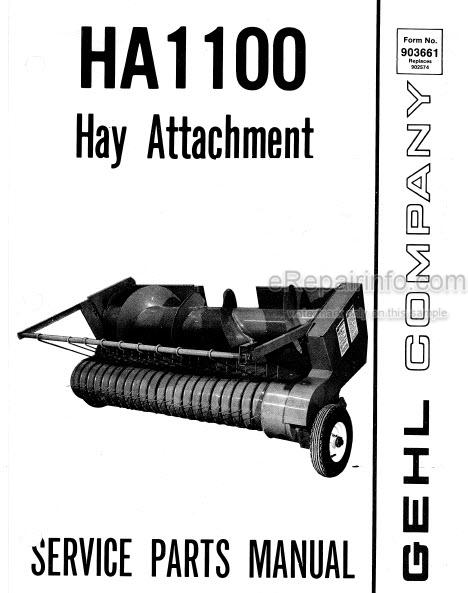 Gehl HA1100 Service Parts Manual Hay Attachment 903661