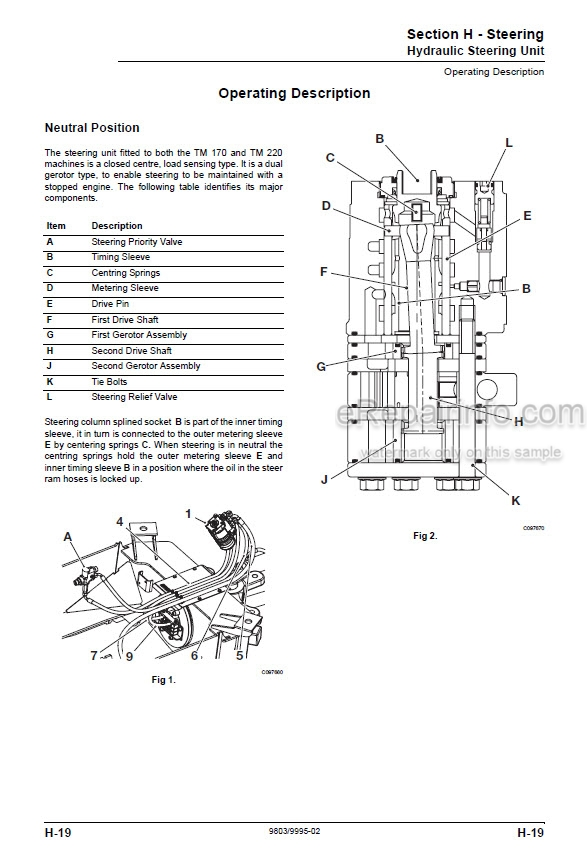 JCB TM180 TM220 Service Manual Wheel Loader 9803-9995