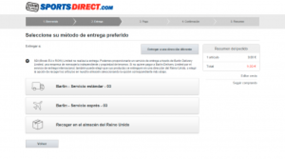 Metodo de entrega - Sports Direct