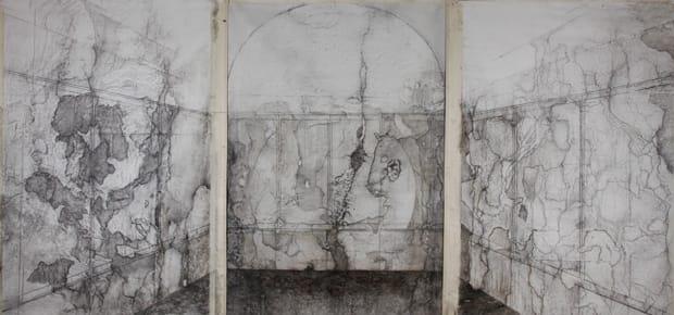 """ליהי תורג'מן - קבר שייח, 2012, 160x290 ס""""מ כ""""א (סה""""כ טריפטיך 480x 290), גרפיט שמן ופחם על בד."""