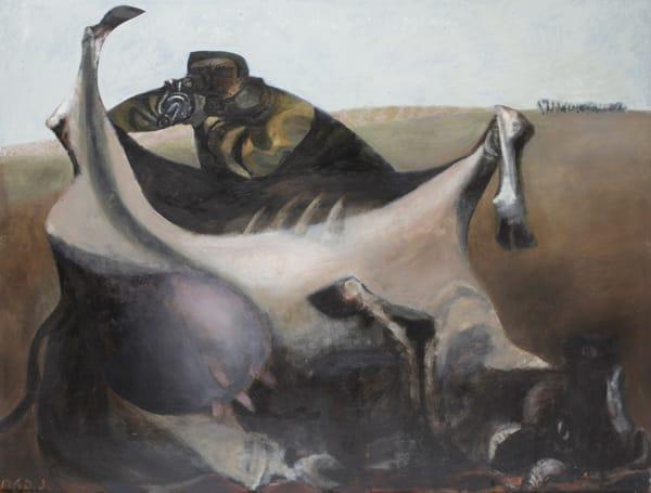 """נפתלי בזם - הגנת רמת רחל, 1954. שמן על בד, 89/116, ת""""א. אוסף פרטי"""