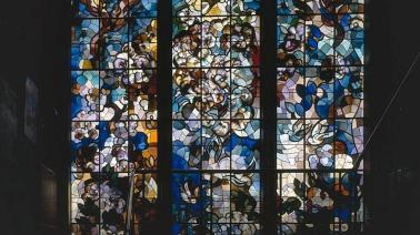 Glas in lood raam Valeriuskliniek van Matthieu Wiegman Foto: Heemschut