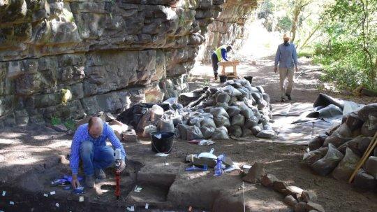 De opgraving in Zuid-Afrika