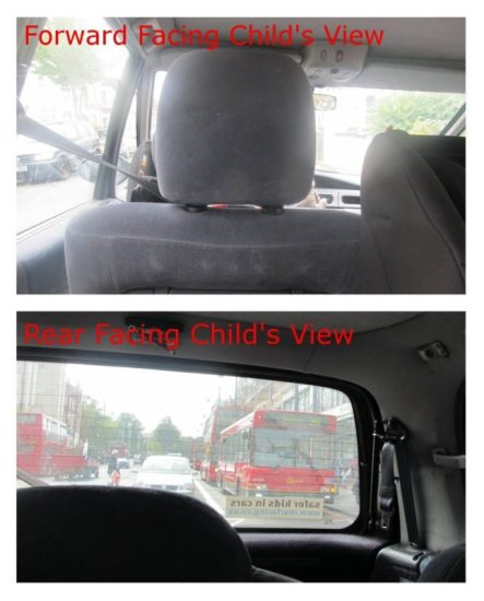 Forward facing vs. Rear facing child's view