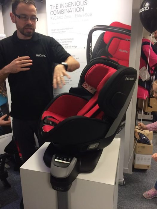 Tom demonstrating the Recaro Zero 1. Elite