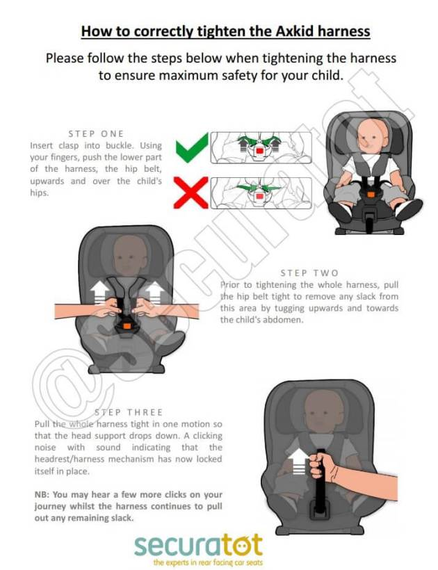 how to tighten the car seat harness
