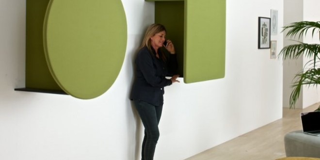 Kite Phone Booth gives  its contribution to the sound absorbing function.