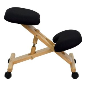Mobile Wooden Ergonomic Kneeling Chair good for posture at desks