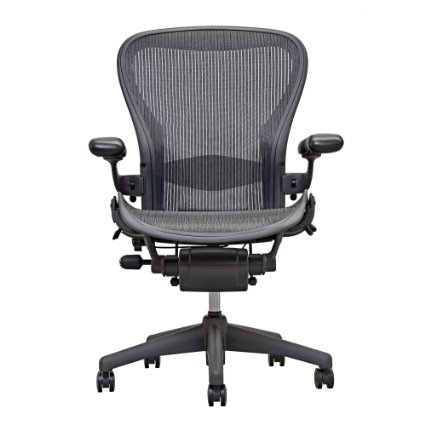 Aeron Chair By Herman Miller - Highly Adjustable - Graphite Frame - Lumbar Pad - Carbon Classic