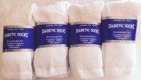 gift ideas for people with diabetes - White Diabetic Socks, Crew Style, MEN Size 10-13, 1 dozen Pairs