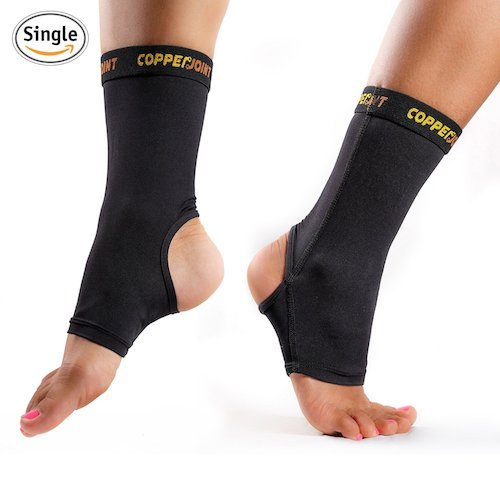 CopperJoint Compression Ankle Brace, #1 Plantar Fasciitis Sleeve, Copper Infused Foot Support - GUARANTEED Recovery Sock - Wear Anywhere - Single Sock