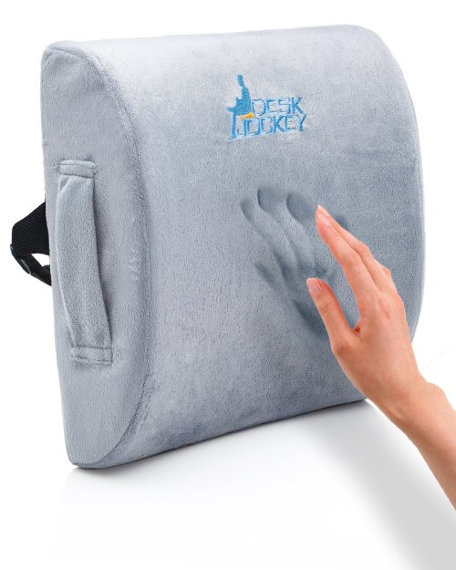 Premium Therapeutic Grade Lumbar Support Cushion with Pain Free Guarantee by Desk Jockey- Lower Back Support - Lumbar Support - Lower Back Pain Cushion
