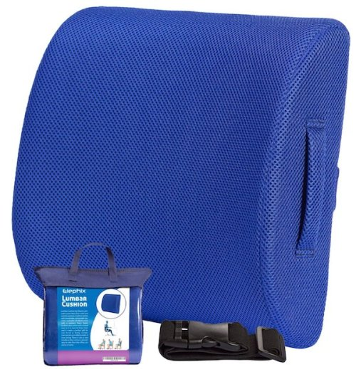 The Lumbar Back Support Cushion, Contoured Memory Foam Pillow For Chair Or Car | Corrects Posture & Eases Lower Back Pain | Includes Carry Handle, Travel Case & Elastic Extension