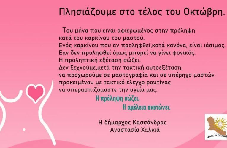 Πλησιάζουμε στο τέλος του Οκτώβρη. Του μήνα που είναι αφιερωμένος στην πρόληψη κατά του καρκίνου του μαστού