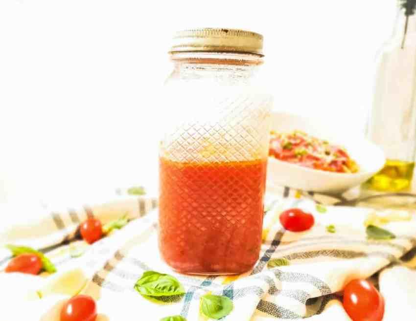 This marinara sauce is my families favorite! Simple combination of basil, oregano and garlic make this sauce perfect!