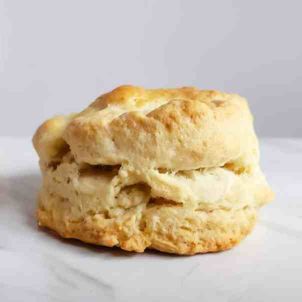 Perfect Classic Homemade biscuits with a side of sausage gravy. A Southern Comfort food classic!