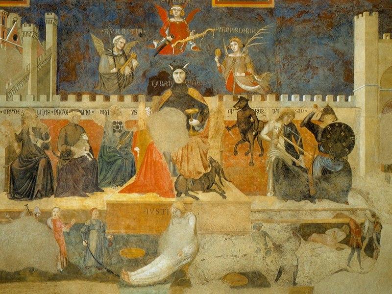 Mostra Allegoria del Cattivo Governo, 1338-1339, Sala della Pace, Palazzo Pubblico, Siena