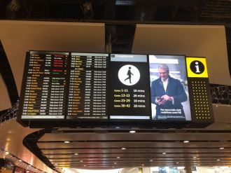 Departures board at London Heathrow Airport