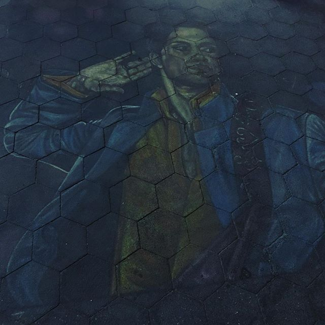Chalk painting of Prince in Washington Park