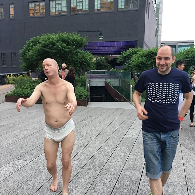 Enej and the man in underwear. Not sure if it was a statue or a real person. Wasn't brave enough to touch it.