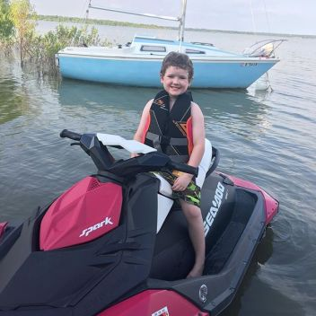 Jet skiing on Lewisville lake with aunt Dana and Heather.