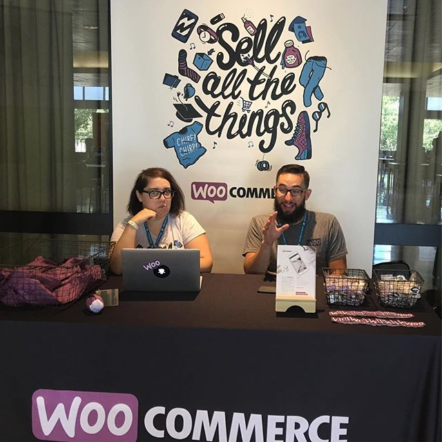#woocommerce booth at #wcbos. @slash1andy has been dropping puns all morning. 😂