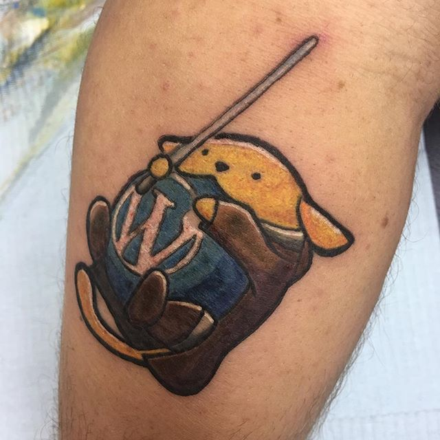 Just finished my Jedi Wapuu tattoo at #a8cgm. Thanks @nickhamze for creating this little guy! #WordPress