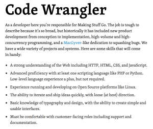Code Wrangler job description