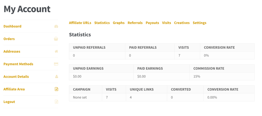 Affiliate WP Statistics tab