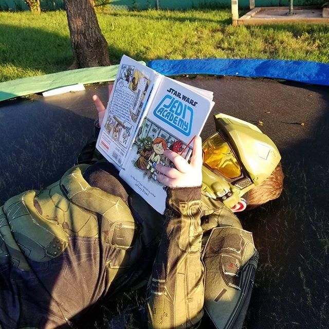 Hero doing some summer reading