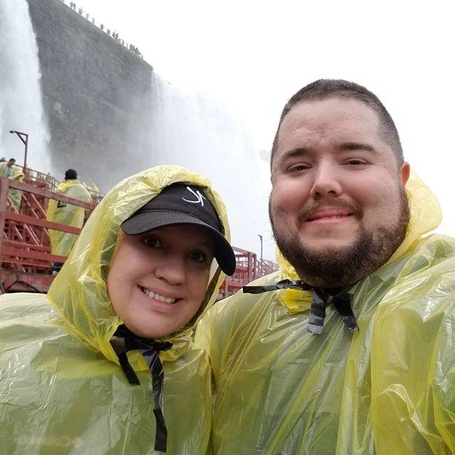Sara and I at Cave of the Winds at Niagara Falls