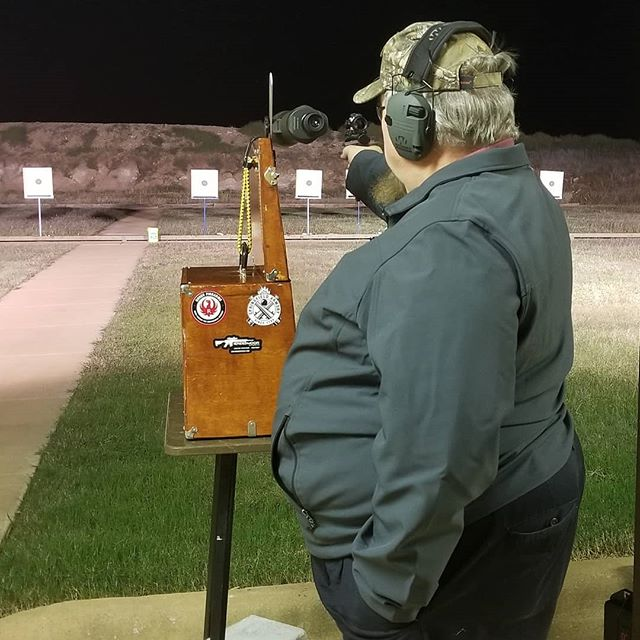 Greg Yost at pistol league last night. Greg got to grade all of my targets. The ugly and the pretty ones. 🤣