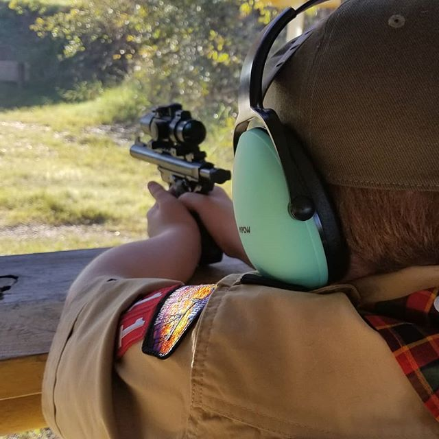 Took Hero to the range today before going to Lowe's to sell Cub scout popcorn.
