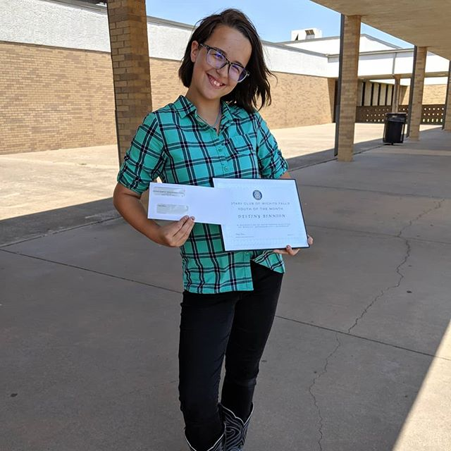 Destiny was awarded Rotary Club youth of the month 🤘She won an award, a gift of 0, and she'll be eligible for a scholarship when she does dual enrollment in High School.