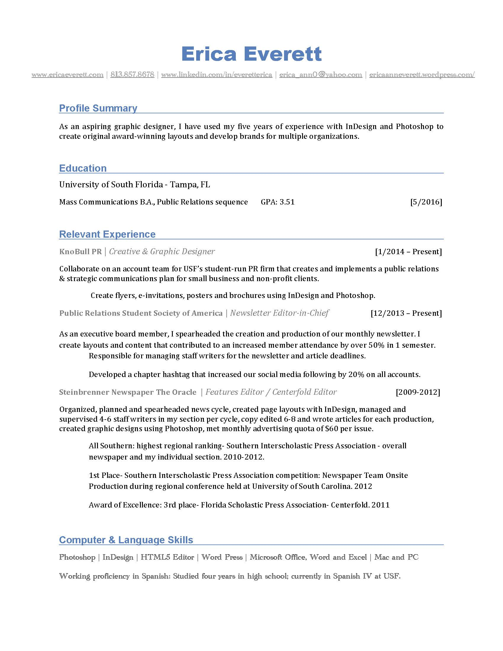 GPA on resume example