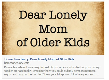 Dear Lonely Mom of Older Kids